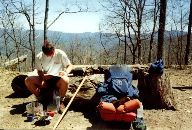 Maineac Writes In A Shelter Log At Blue Mountain
