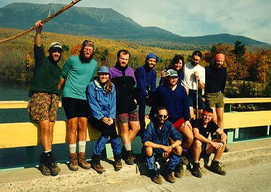 Thru-Hikers Celebrate At Abol Bridge With Mt. Katahdin In The Background