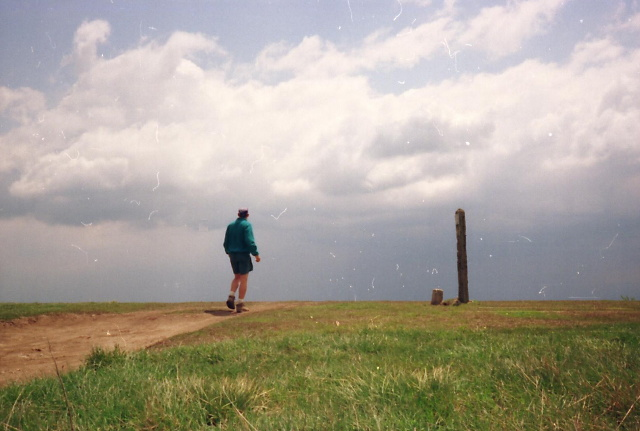 Storm Approaches Big Bald, BirdShooter Walks To The Trail Marker