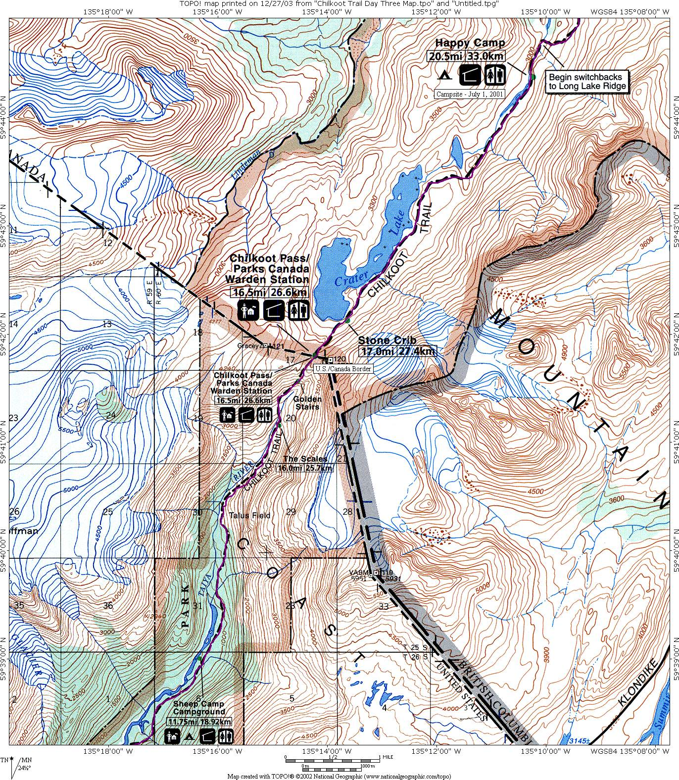 Chilkoot Trail Elevation Map.Chilkoot Pass N2backpacking Com