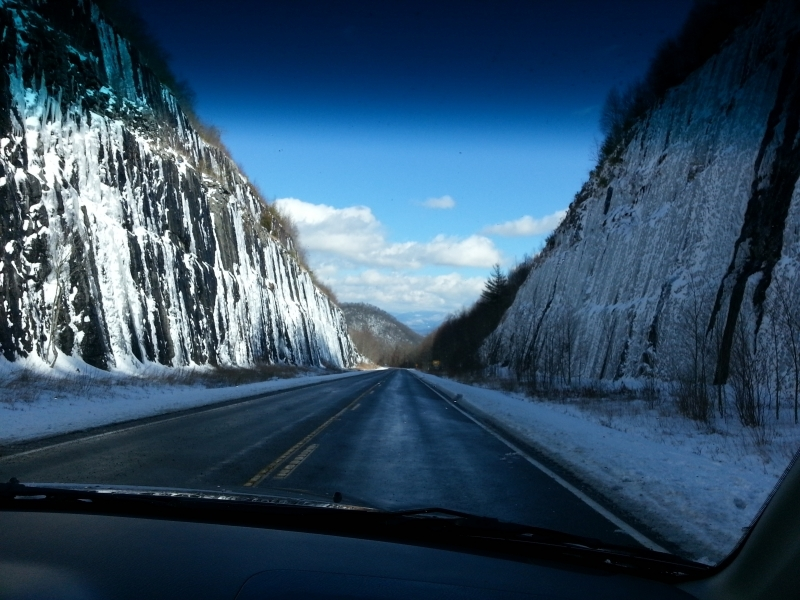 Icy walls near Winding Stair Gap on US 64