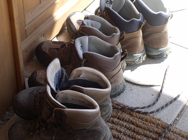 Hiking Boots Lined Up